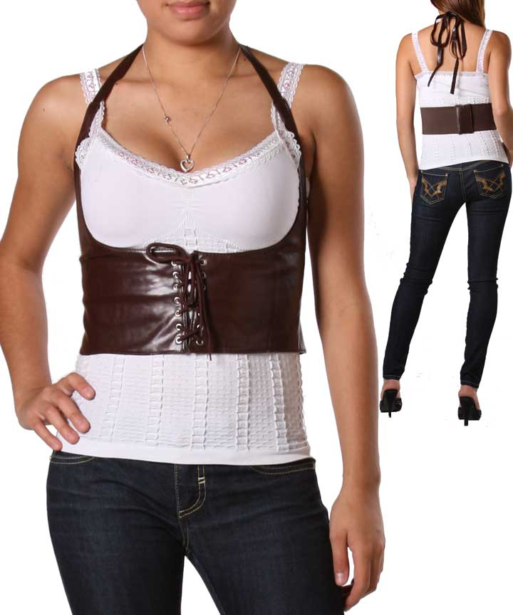 Women'S Sexy Brown Leather Vest 26