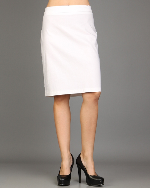 womans plus size fitted white pencil skirt 1xl 14 16