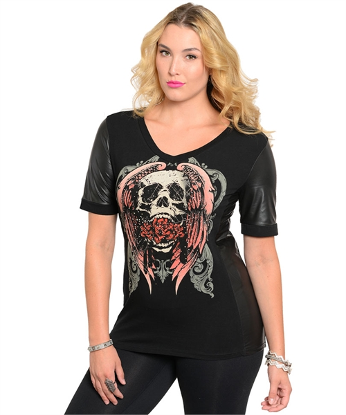 WOMANS PLUS SIZE TATTOO INSPIRED BLACK TOP SKULL AND ROSES
