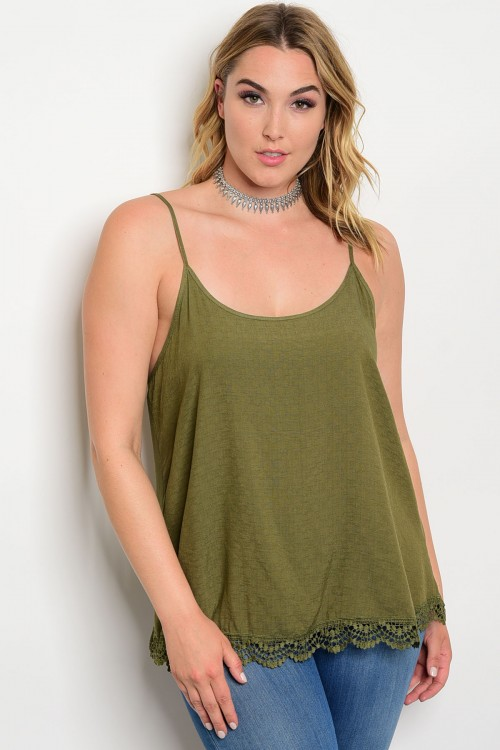 d8369223372 women s plus size olive green spaghetti strap tank top with lace ...