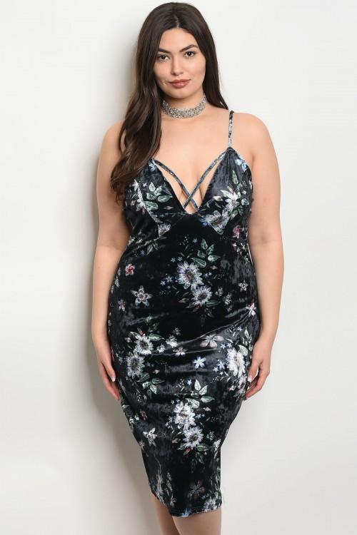 Women\'s Plus Size Navy Blue Floral Velvet Bodycon Plus Size Dress ...