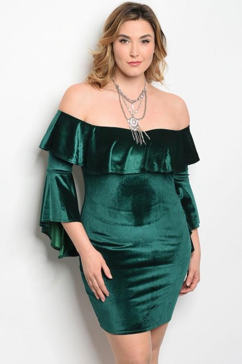 Women/'s Plus Size Green Velvet Cold Shoulder Bodycon Bell Sleeve Dress 2X NEW