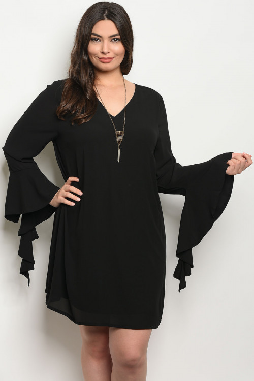 Details about Women\'s Plus Size Black Long Bell Sleeve Criss Cross Back  Tunic Dress 1X NEW
