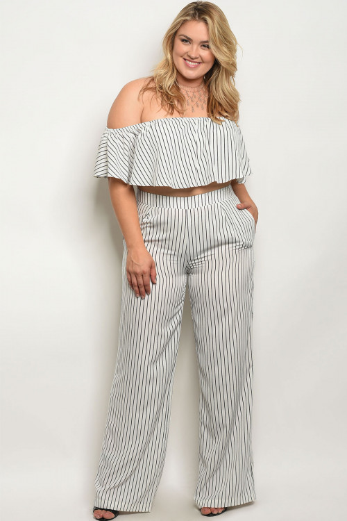 96316413a Details about Women's Plus Size White Pinstripe Cold Shoulder Crop Top and  Pants Set 2XL NWT