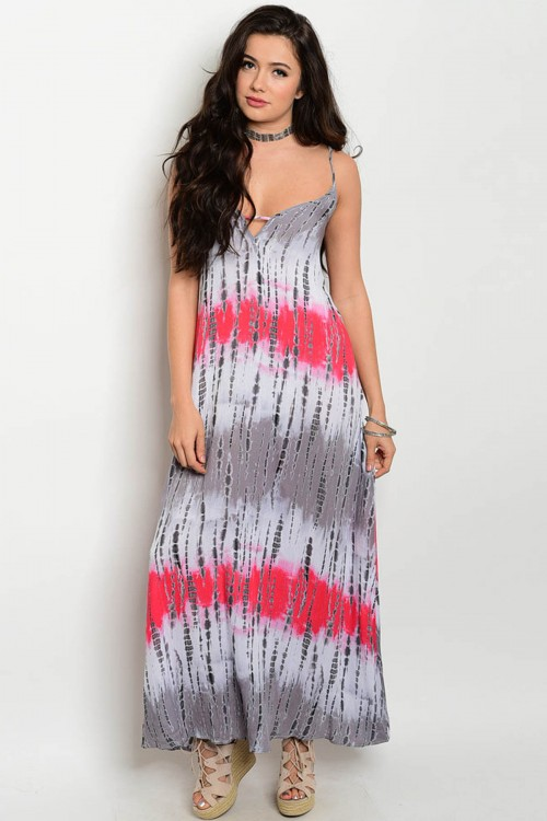 defb6e95d3de Details about MISSES SEXY GRAY AND CORAL SPAGHETTI STRAP TIE DYE MAXI DRESS  SIZE MEDIUM NEW