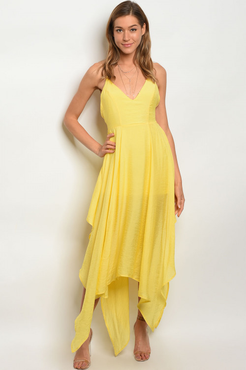 39042b4be194 Details about Misses Sexy Yellow Maxi Dress Sundress with Asymmetrical Hem  SZ Large NWT